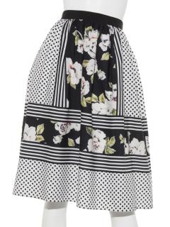 花×ドットプリント スカート