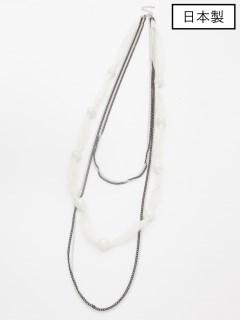 【日本製】樹脂パールネットコード/チェーン 5連ネックレス
