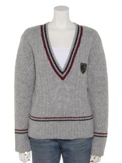 圧縮ケーブルVネックセーター
