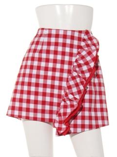 シャツ地ギンガムチェックフリルタイトスカート