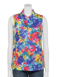 SUMMER FLOWER カットノースリーブポロシャツ