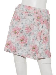 インクフラワーラップスカート風パンツ