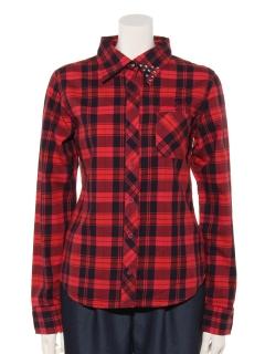 製品染めチェックシャツ