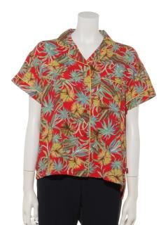 Dickiesサボテン柄レーヨンパイピングS/Sオープンカラーシャツ