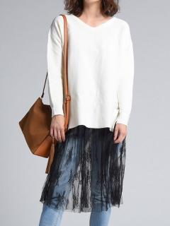 【SOCOLLA】ヨヤクカイスカートセットニットチュニック