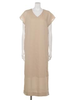 シアーフレンチスリーブドレス