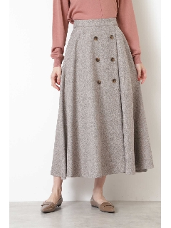 [洗える]ツイーディー釦ディテールスカート