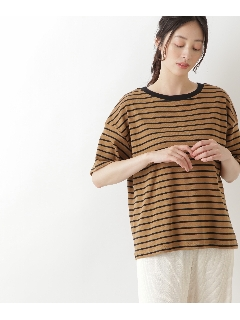 オーガニックコットンボーダーリンガーTシャツ