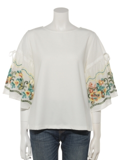 【Plegina】袖刺繍カットソー