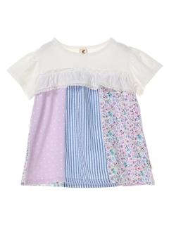 【chocola wish】半袖パッチワークチュニックTシャツ