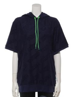 UV パイルジャガード半袖プルパーカー