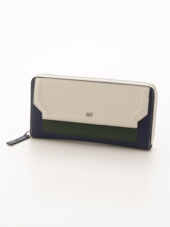 COLOR BROCKING ROUND ZIPPED WALLET