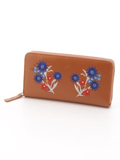 EMBROIDERY ROUND ZIPPED WALLET