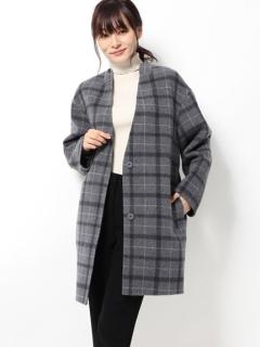 ノーカラーチェックジャケットコート