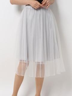 チュール重ねプリーツスカート