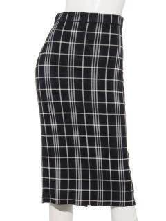 チェック柄ニットタイトスカート