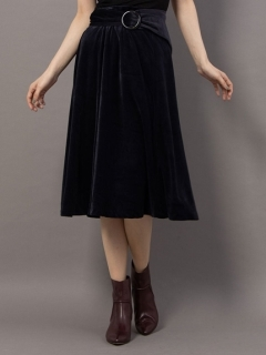 ベルト付きベロアロングスカート