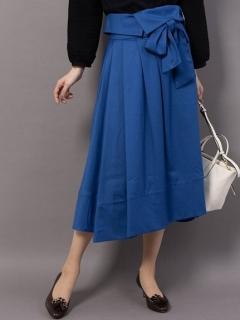 リボン付きフレアロングスカート