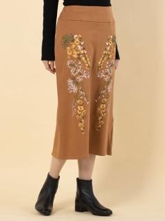 刺繍デザインスウェットタイトスカート