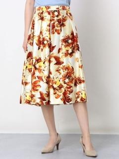 大花柄サテンフレアスカート