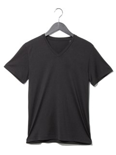 Vカットシルク混Tシャツ