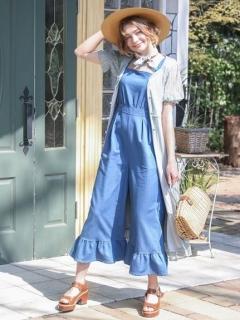 【F&A】裾フリルデニムサロペットパンツ