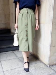 【ananotherangelus】フロント釦ギャザータイトスカート