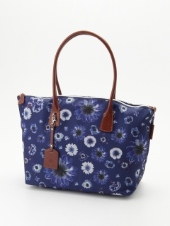 【JANE PACKER×Lecheval aile】ナイロン×イタリアンレザー 花柄トートバッグ