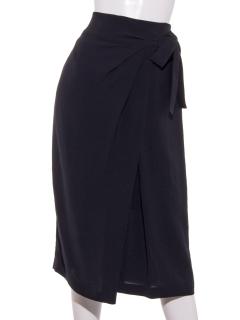 ヴィンテージストレッチ合繊ラップ風リボンタイトスカート