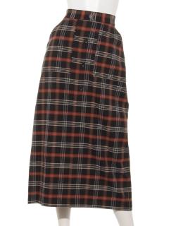 チェックフロント釦ロングスカート