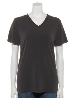 PEストレッチVネックセミロングTシャツ