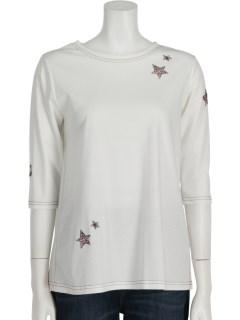 カラーステッチスター刺繍スムース6分袖Tシャツ
