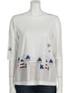 パネルヴィレッジ刺繍スムース6分袖Tシャツ