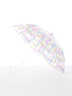 【[+TIC]】婦人長傘ビニール水彩チェック