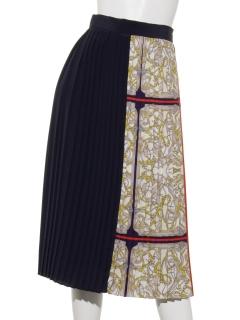 スカーフ柄×無地コンビプリーツスカート