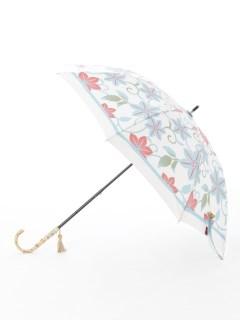 【nugoo】晴雨兼用日傘 ショート/枠取り鉄線花(生成りブルー)