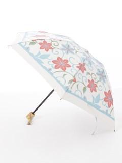 【nugoo】晴雨兼用日傘 折たたみ/枠取り鉄線花(生成りブルー)