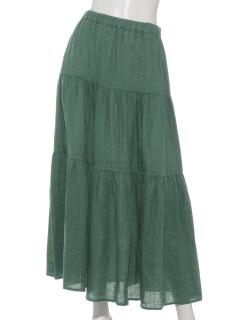 麻100 %三段スカート