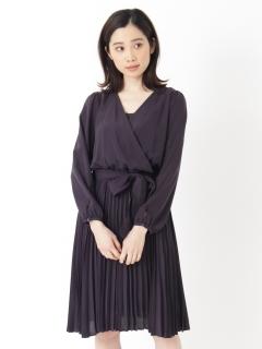 【FABIA】カシュクール風プリーツワンピース