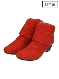 【日本製】縄編みショートニットブーツ