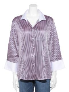 ストレッチサテンストライプスタンドカラー七分袖シャツ