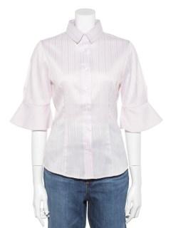 サテンストライプフレア5分袖シャツ