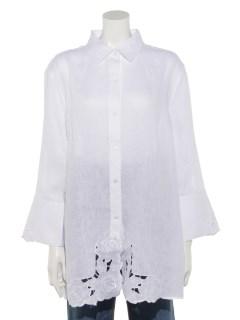 裾カットワークチュニックシャツ