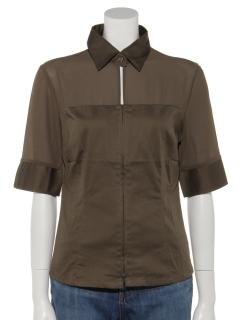 シアージップアップ七分袖シャツ