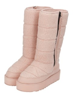 QUILTED SHERPA PANELLED TALL BOOT WITH SIDE ZIP