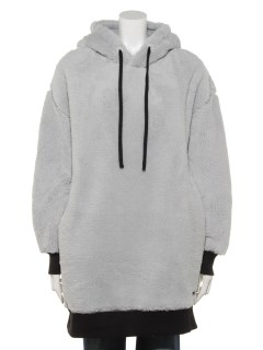 L/S OVERSIZE TEDDY HOODIE DRESS