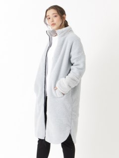 LONG-LINE CURVED HEM SHERPA COAT