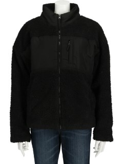 ZIP THRU SHERPA PANEL BOMBER JACKET