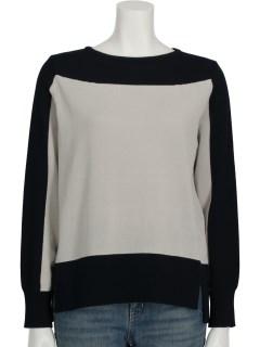 強撚綿ボイル配色インターシャセーター