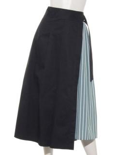 ストライプ柄ラップスカート